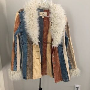 Vintage Mixed Media Jacket Faux Fur Denim Corduroy